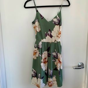 NWT Soprano Green Floral Skater Dress